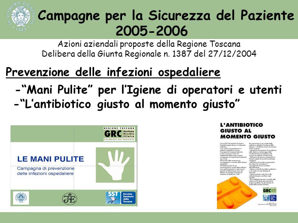 Campagne per la Sicurezza del Paziente 2005-2006 Azioni aziendali proposte della Regione Toscana Delibera della Giunta Regionale n. 1387 del 27/12/200