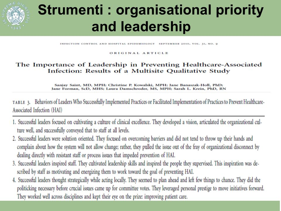 Strumenti : organisational priority and leadership
