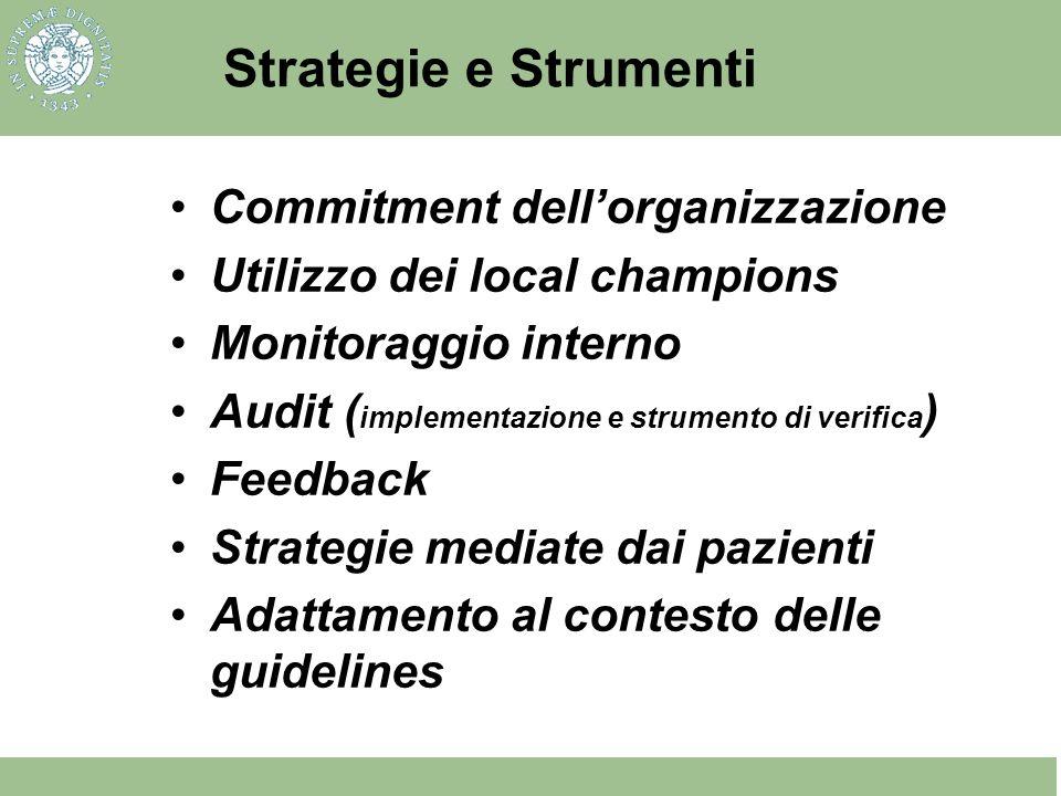 Strategie e Strumenti Commitment dellorganizzazione Utilizzo dei local champions Monitoraggio interno Audit ( implementazione e strumento di verifica