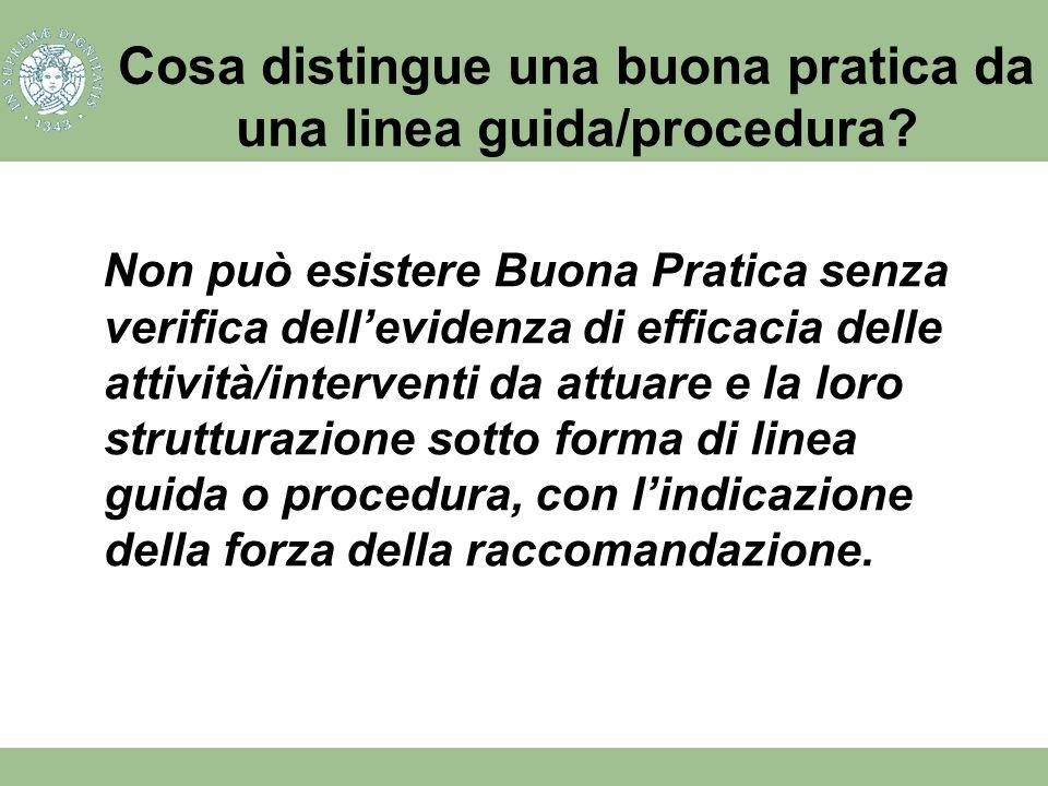 Cosa distingue una buona pratica da una linea guida/procedura? Non può esistere Buona Pratica senza verifica dellevidenza di efficacia delle attività/