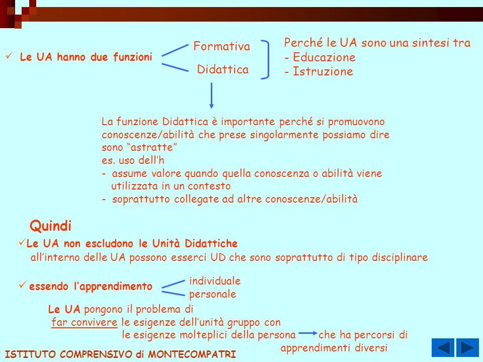 Le UA hanno due funzioni Formativa Didattica Perché le UA sono una sintesi tra - Educazione - Istruzione La funzione Didattica è importante perché si