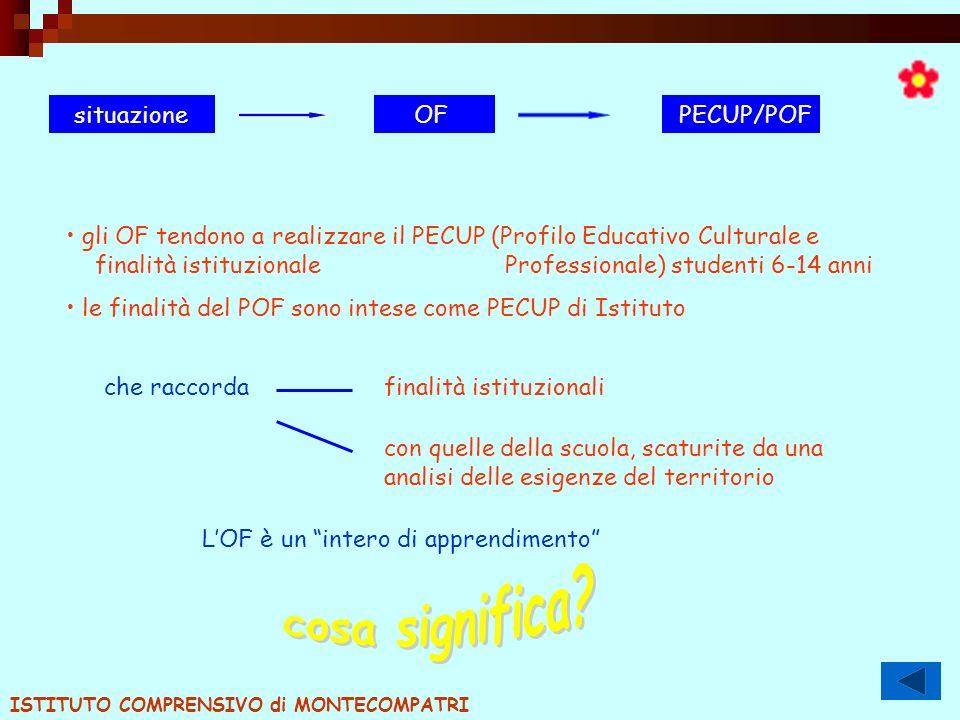 situazioneOF PECUP/POF gli OF tendono a realizzare il PECUP (Profilo Educativo Culturale e finalità istituzionale Professionale) studenti 6-14 anni le