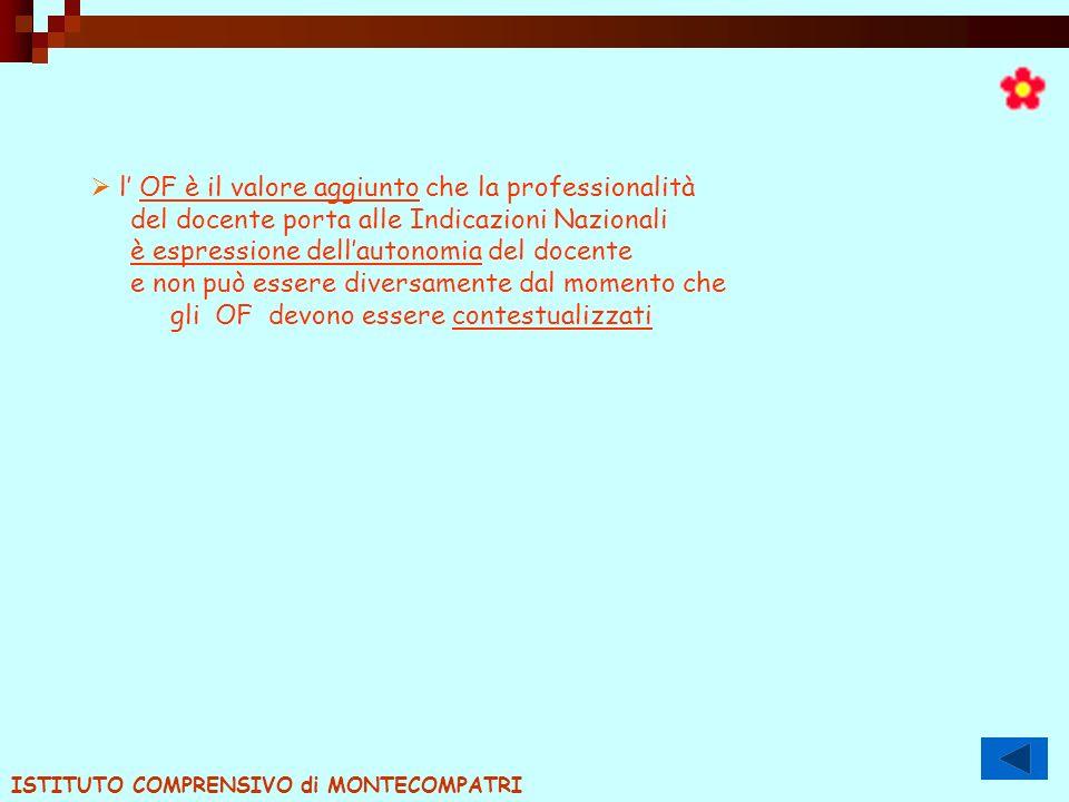 l OF è il valore aggiunto che la professionalità del docente porta alle Indicazioni Nazionali è espressione dellautonomia del docente e non può essere