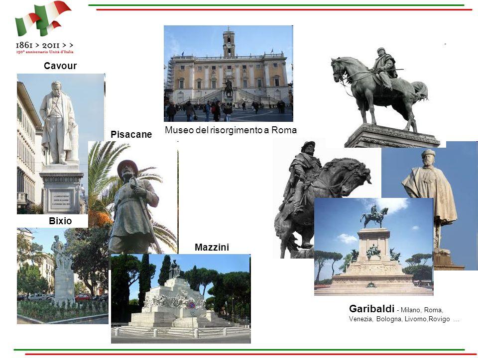 Museo del risorgimento a Roma Garibaldi - Milano, Roma, Venezia, Bologna, Livorno,Rovigo … Cavour Pisacane Bixio Mazzini