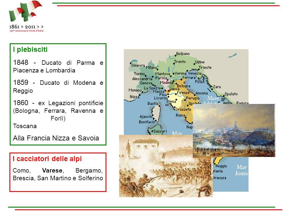 I plebisciti 1848 - Ducato di Parma e Piacenza e Lombardia 1859 - Ducato di Modena e Reggio 1860 - ex Legazioni pontificie (Bologna, Ferrara, Ravenna