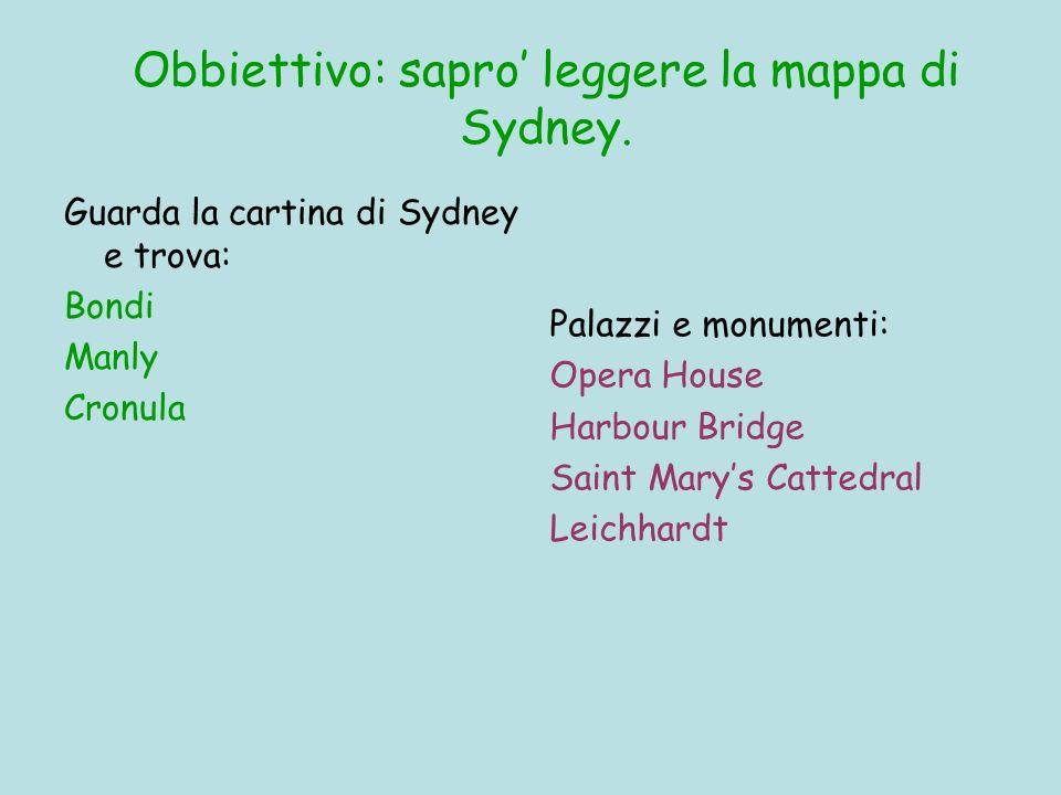 Obbiettivo: sapro leggere la mappa di Sydney. Guarda la cartina di Sydney e trova: Bondi Manly Cronula Palazzi e monumenti: Opera House Harbour Bridge