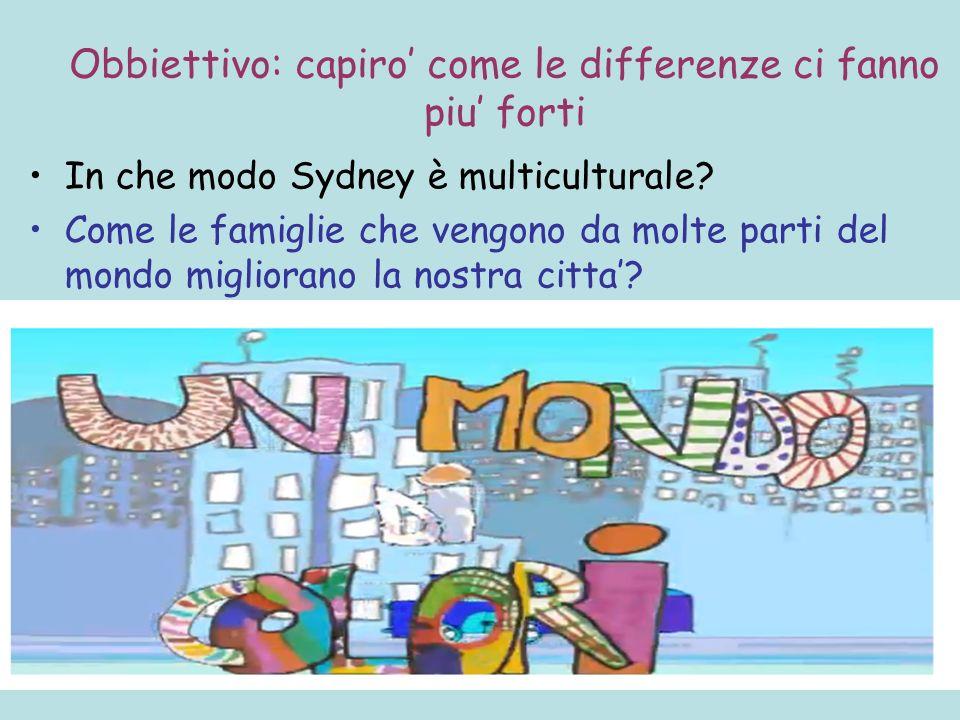 Obbiettivo: capiro come le differenze ci fanno piu forti In che modo Sydney è multiculturale? Come le famiglie che vengono da molte parti del mondo mi