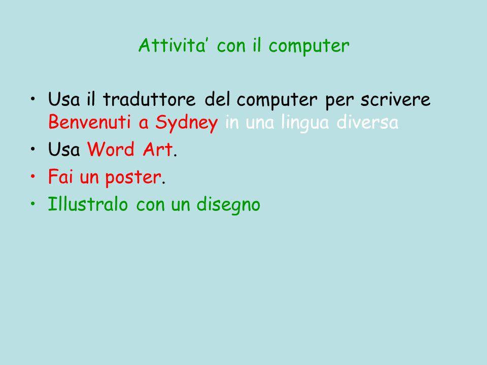 Attivita con il computer Usa il traduttore del computer per scrivere Benvenuti a Sydney in una lingua diversa Usa Word Art. Fai un poster. Illustralo