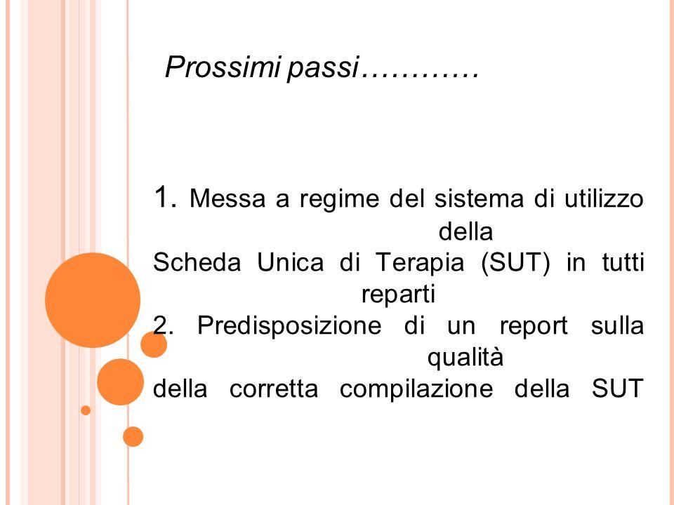 1. Messa a regime del sistema di utilizzo della Scheda Unica di Terapia (SUT) in tutti reparti 2.