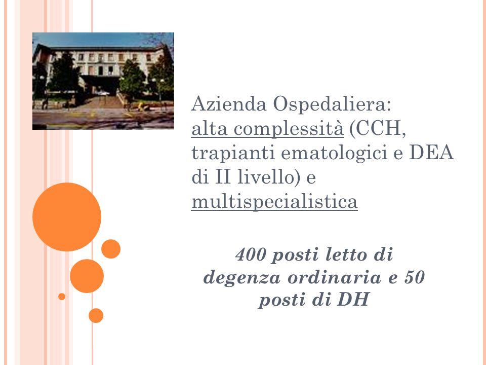 Azienda Ospedaliera: alta complessità (CCH, trapianti ematologici e DEA di II livello) e multispecialistica 400 posti letto di degenza ordinaria e 50 posti di DH
