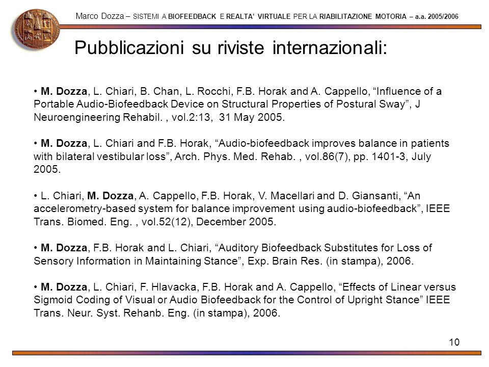 10 Pubblicazioni su riviste internazionali: Marco Dozza – SISTEMI A BIOFEEDBACK E REALTA VIRTUALE PER LA RIABILITAZIONE MOTORIA – a.a. 2005/2006 M. Do
