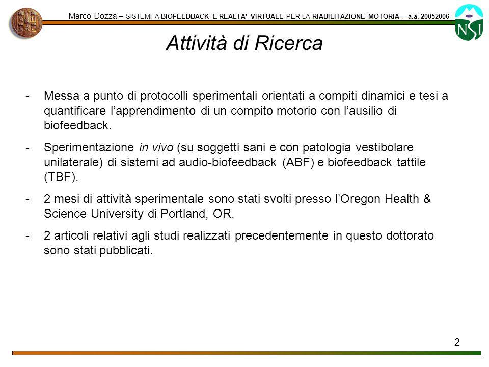 2 Attività di Ricerca Marco Dozza – SISTEMI A BIOFEEDBACK E REALTA VIRTUALE PER LA RIABILITAZIONE MOTORIA – a.a. 20052006 -Messa a punto di protocolli