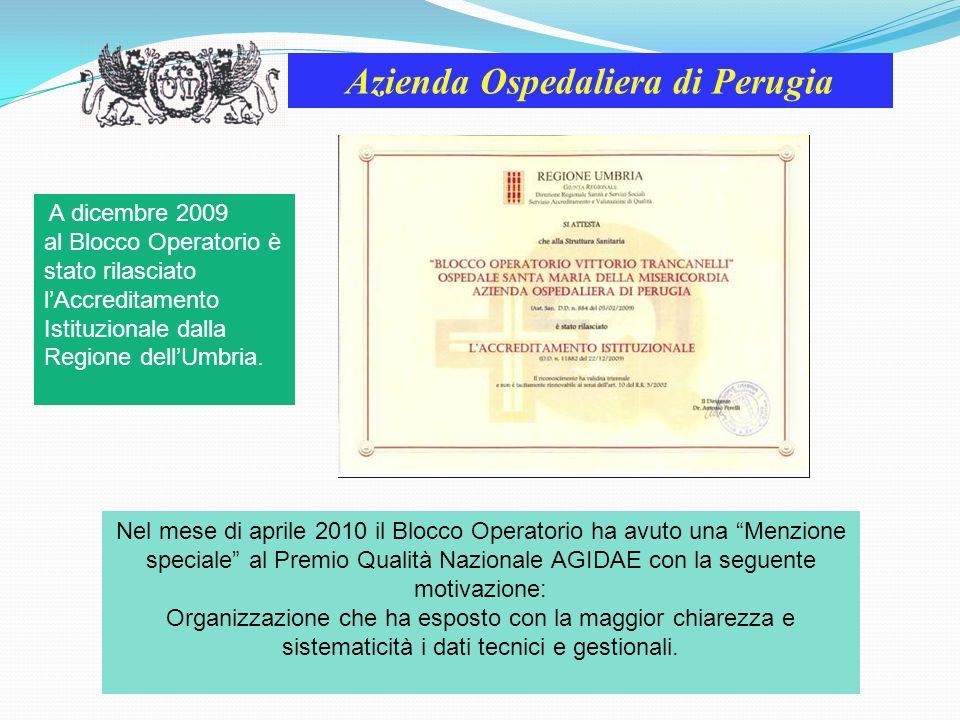 Azienda Ospedaliera di Perugia A dicembre 2009 al Blocco Operatorio è stato rilasciato lAccreditamento Istituzionale dalla Regione dellUmbria. Nel mes