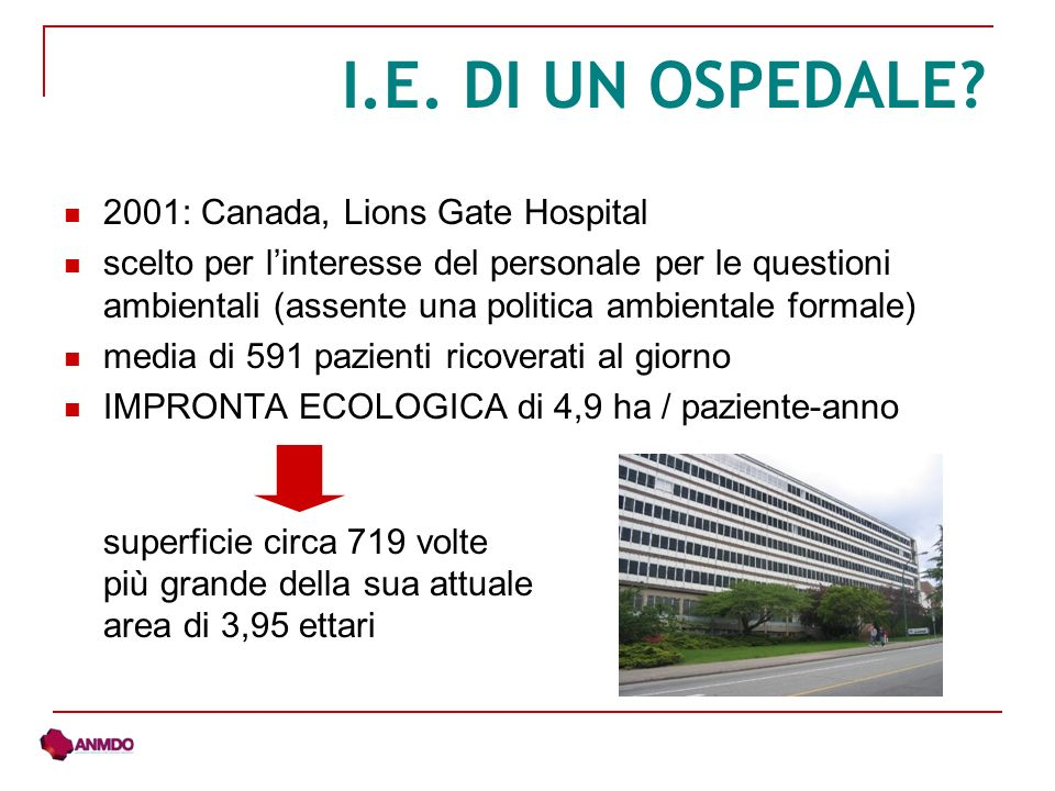 2001: Canada, Lions Gate Hospital scelto per linteresse del personale per le questioni ambientali (assente una politica ambientale formale) media di 591 pazienti ricoverati al giorno IMPRONTA ECOLOGICA di 4,9 ha / paziente-anno superficie circa 719 volte più grande della sua attuale area di 3,95 ettari I.E.