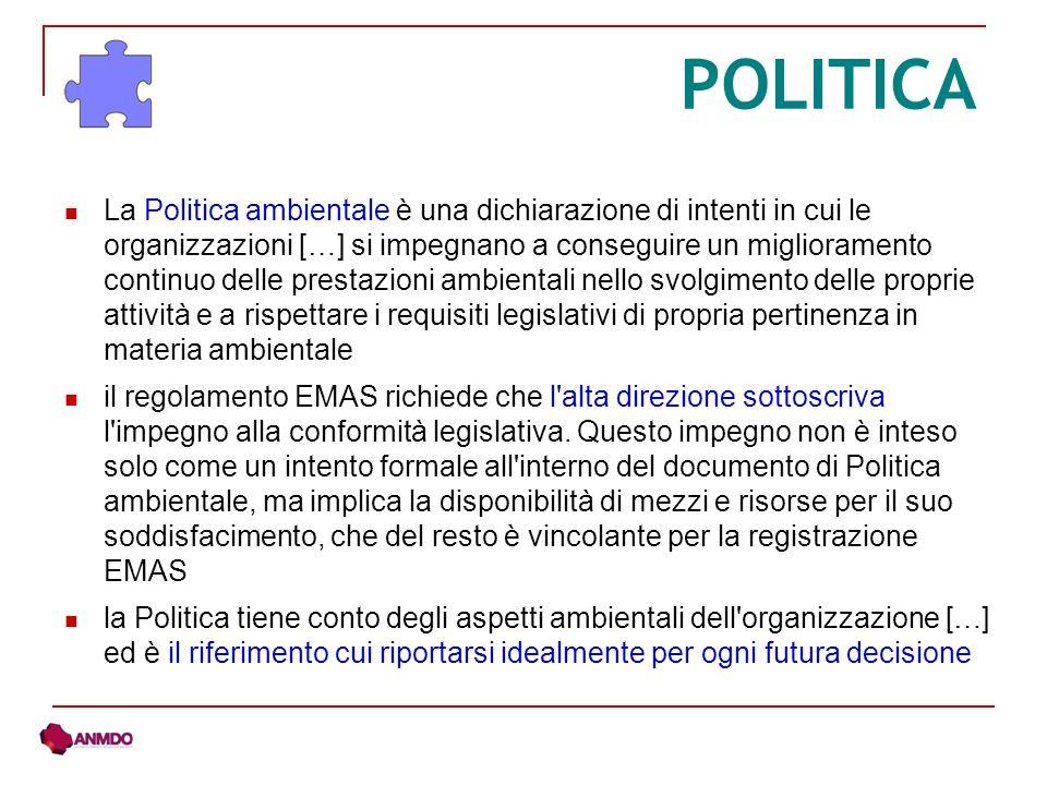 POLITICA La Politica ambientale è una dichiarazione di intenti in cui le organizzazioni […] si impegnano a conseguire un miglioramento continuo delle