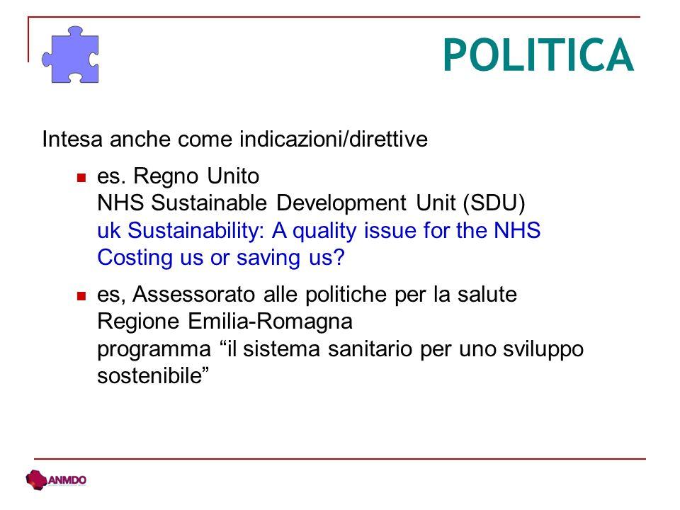 POLITICA Intesa anche come indicazioni/direttive es.