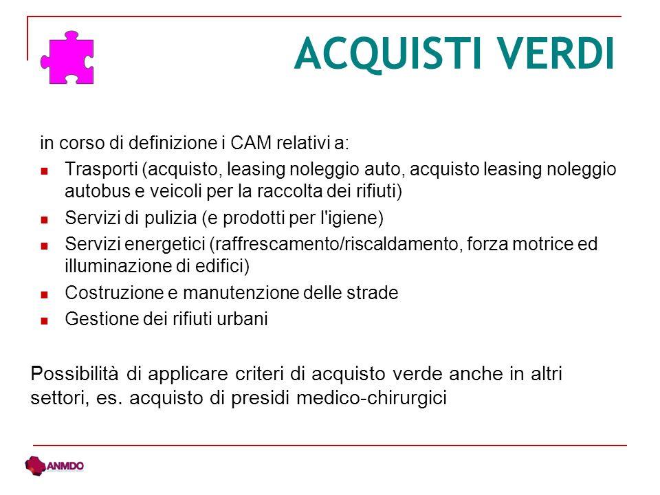 ACQUISTI VERDI in corso di definizione i CAM relativi a: Trasporti (acquisto, leasing noleggio auto, acquisto leasing noleggio autobus e veicoli per l