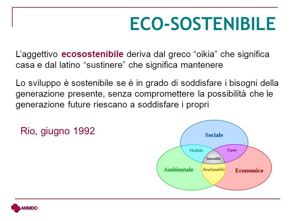 ECO-SOSTENIBILE Rio, giugno 1992 Lo sviluppo è sostenibile se è in grado di soddisfare i bisogni della generazione presente, senza compromettere la po