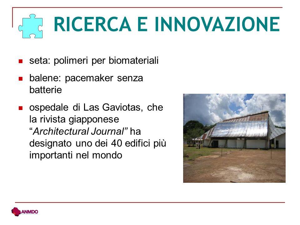 seta: polimeri per biomateriali balene: pacemaker senza batterie ospedale di Las Gaviotas, che la rivista giapponeseArchitectural Journal ha designato