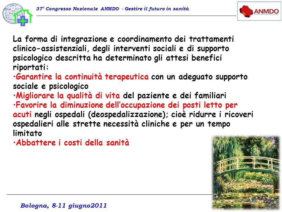 La forma di integrazione e coordinamento dei trattamenti clinico-assistenziali, degli interventi sociali e di supporto psicologico descritta ha determ