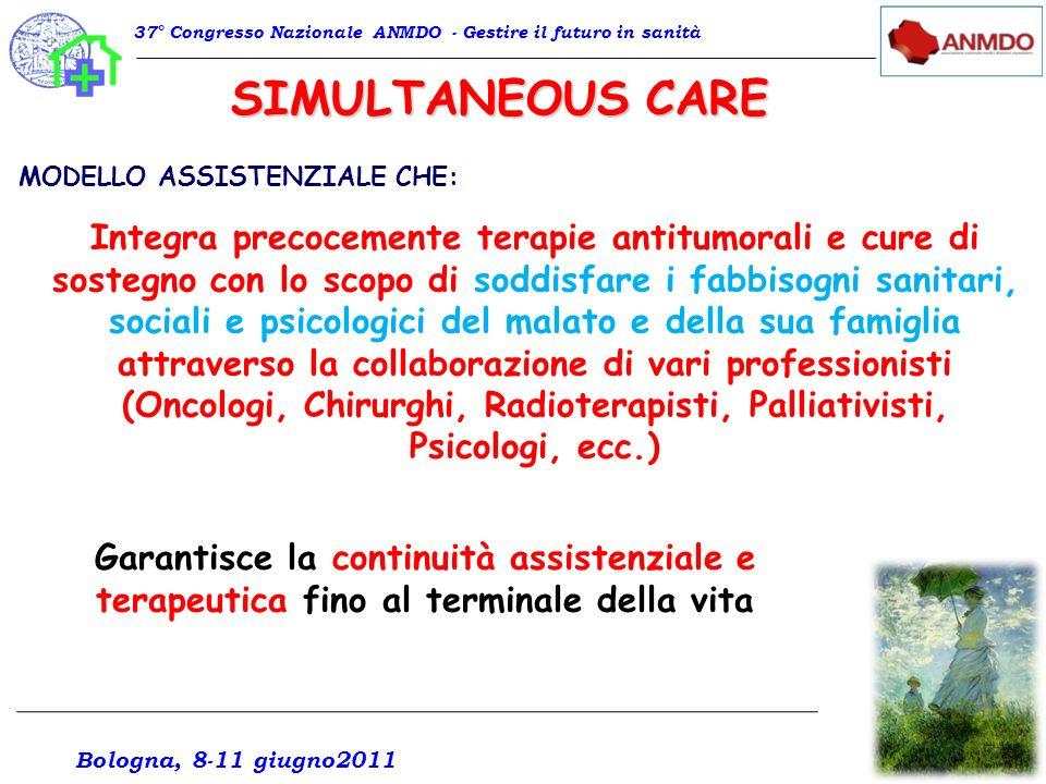 Il modello simultaneous care è quello oggi più accreditato per garantire il migliore risultato terapeutico sia in termini di aspettativa di vita, che di qualità della vita.