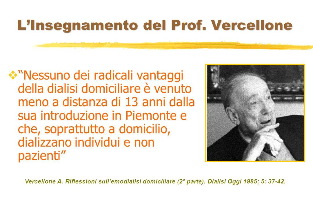 LInsegnamento del Prof. Vercellone Nessuno dei radicali vantaggi della dialisi domiciliare è venuto meno a distanza di 13 anni dalla sua introduzione
