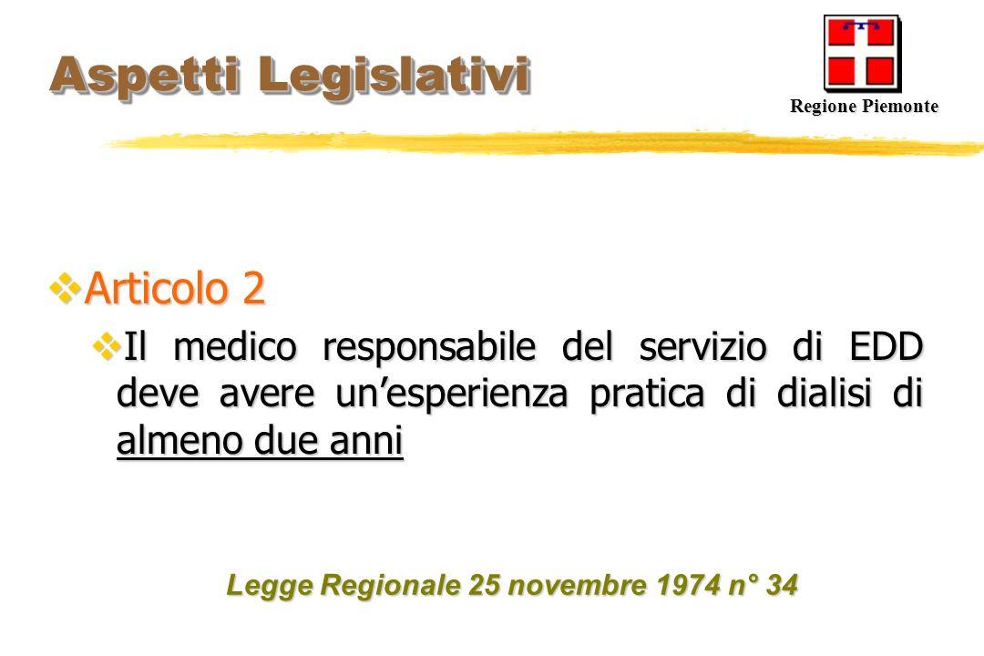 Aspetti Legislativi Aspetti Legislativi Articolo 2 Articolo 2 Il medico responsabile del servizio di EDD deve avere unesperienza pratica di dialisi di