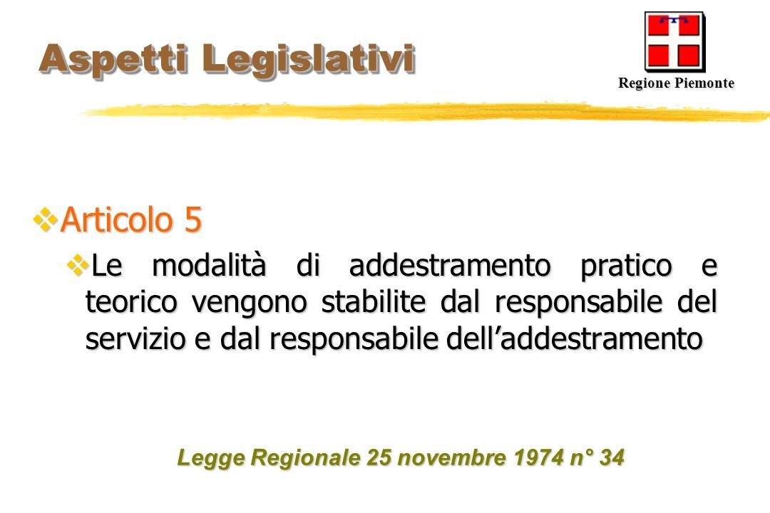 Aspetti Legislativi Aspetti Legislativi Articolo 5 Articolo 5 Le modalità di addestramento pratico e teorico vengono stabilite dal responsabile del se