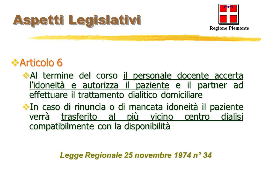 Aspetti Legislativi Aspetti Legislativi Articolo 6 Articolo 6 Al termine del corso il personale docente accerta lidoneità e autorizza il paziente e il