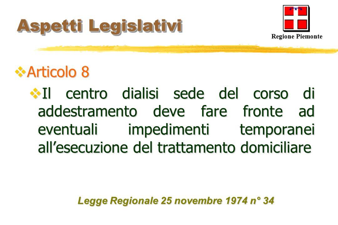 Aspetti Legislativi Aspetti Legislativi Articolo 8 Articolo 8 Il centro dialisi sede del corso di addestramento deve fare fronte ad eventuali impedime