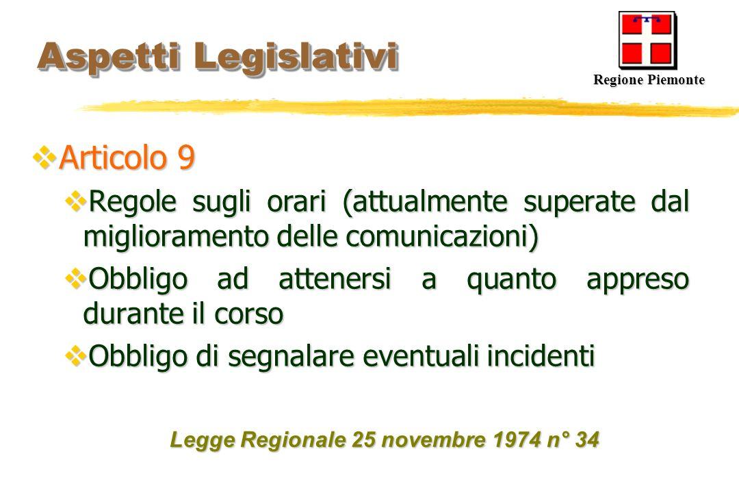 Aspetti Legislativi Aspetti Legislativi Articolo 9 Articolo 9 Regole sugli orari (attualmente superate dal miglioramento delle comunicazioni) Regole s