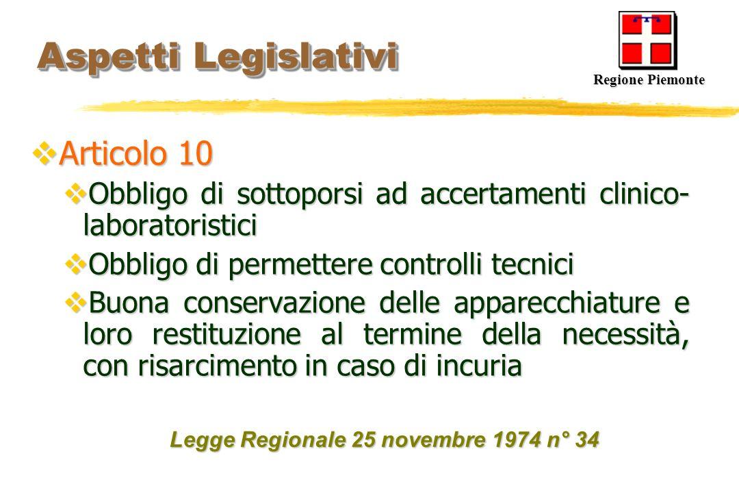Aspetti Legislativi Aspetti Legislativi Articolo 10 Articolo 10 Obbligo di sottoporsi ad accertamenti clinico- laboratoristici Obbligo di sottoporsi a