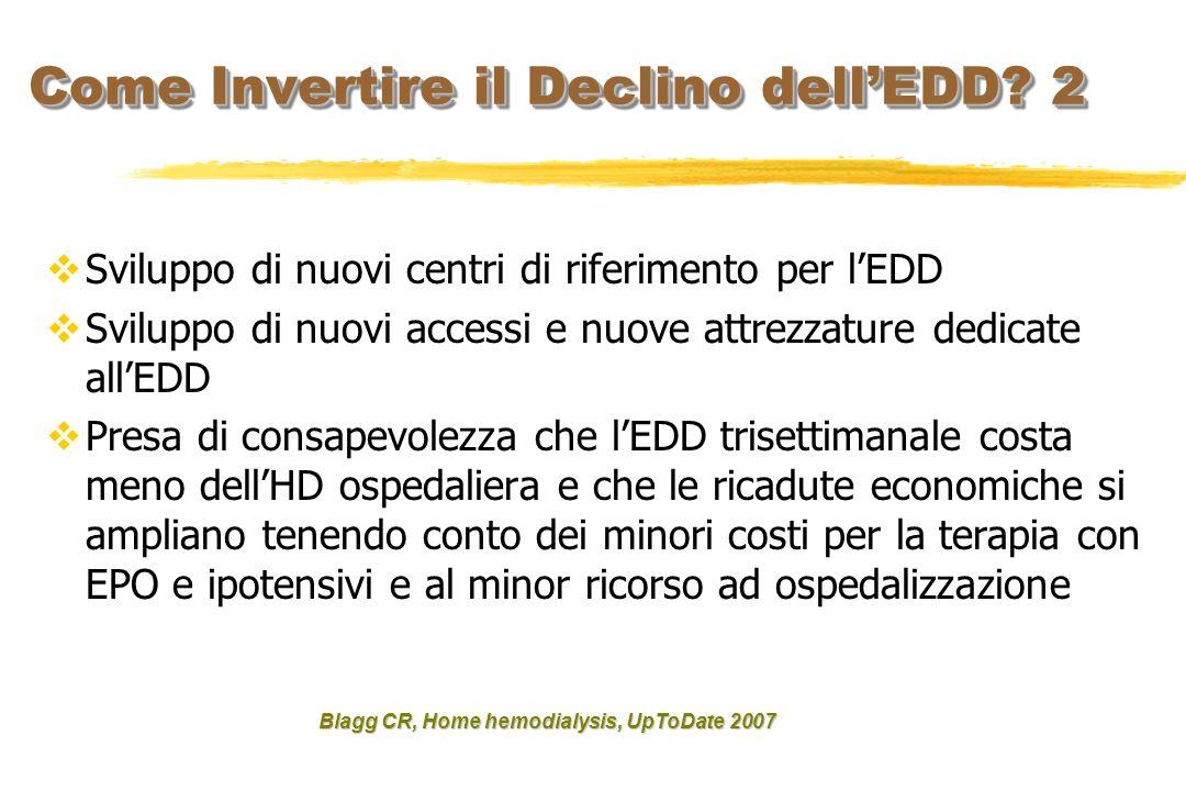 Sviluppo di nuovi centri di riferimento per lEDD Sviluppo di nuovi accessi e nuove attrezzature dedicate allEDD Presa di consapevolezza che lEDD trise