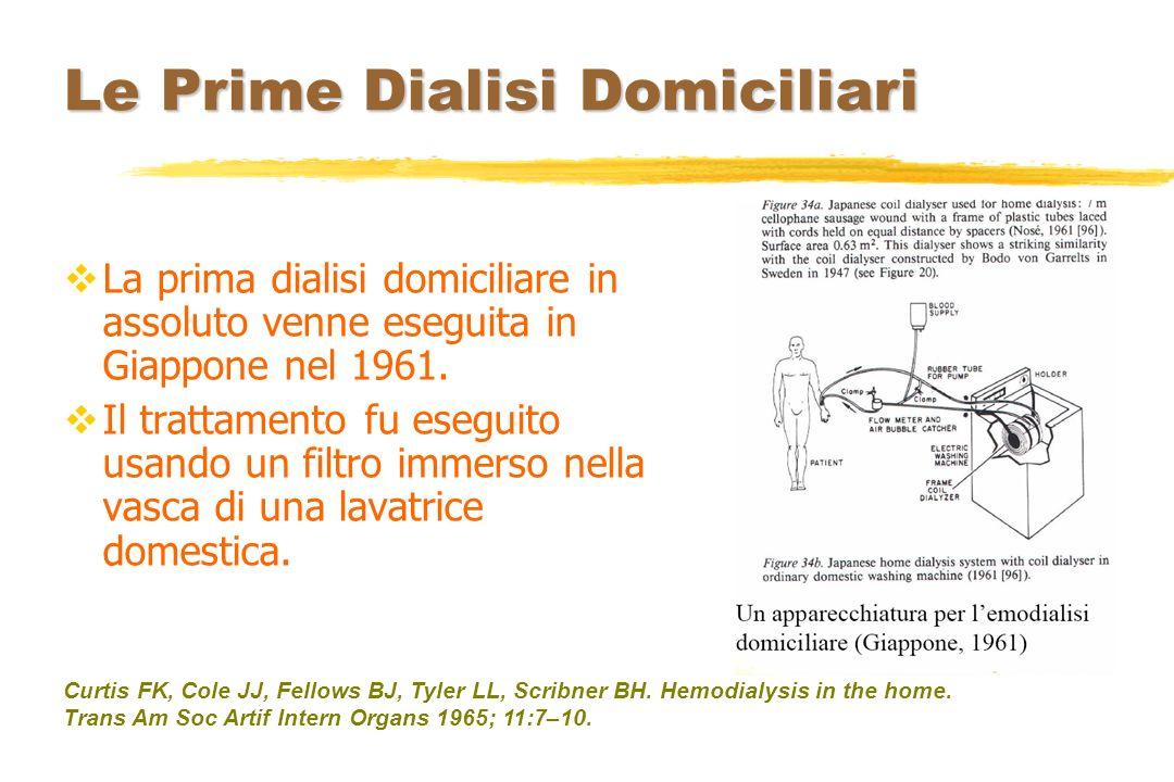 Le Prime Dialisi Domiciliari La prima dialisi domiciliare in assoluto venne eseguita in Giappone nel 1961. Il trattamento fu eseguito usando un filtro