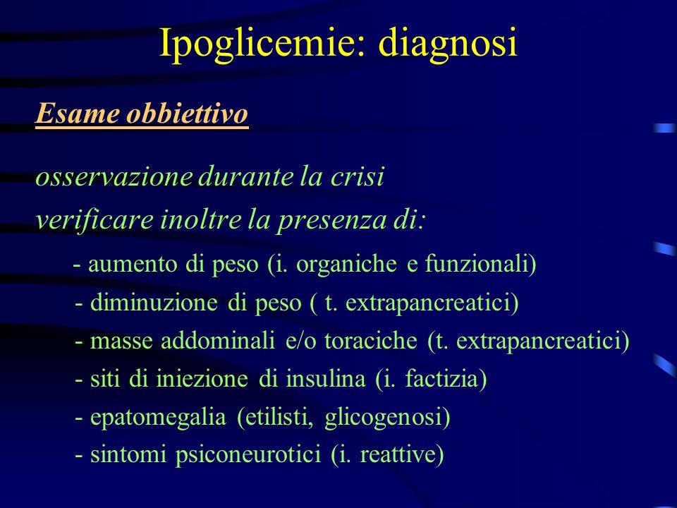 Ipoglicemie: diagnosi Esame obbiettivo osservazione durante la crisi verificare inoltre la presenza di: - aumento di peso (i. organiche e funzionali)
