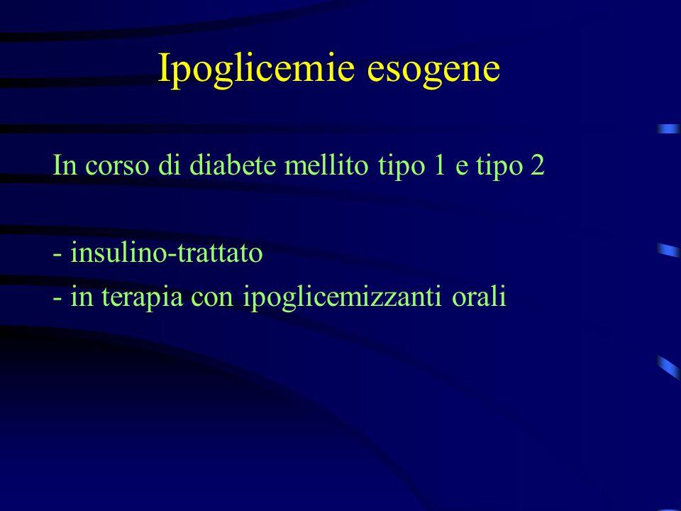 Ipoglicemie: diagnosi Accertamenti diagnostici in sospetto di insulinoma - glicemia ed insulinemia a digiuno indice di turner: IRI ( U/ml) x 100 normali < 30 glicemia (mg/dl) - 30 obesi < 100 insulinoma > 150 - digiuno prolungato (48-72 ore) - localizzazione tumore ecografia TAC RMN scintigrafia con octreotide marcato arter.