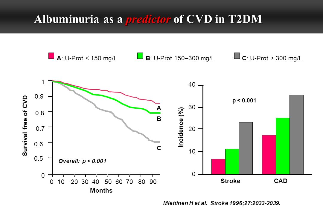 Albuminuria as a predictor of CVD in T2DM 0.9 0.8 0.6 0.5 Incidence (%) Survival free of CVD 1 0.7 0 0102030405060708090 Months A B C Overall: p < 0.001 A: U-Prot < 150 mg/LB: U-Prot 150–300 mg/LC: U-Prot > 300 mg/L Miettinen H et al.