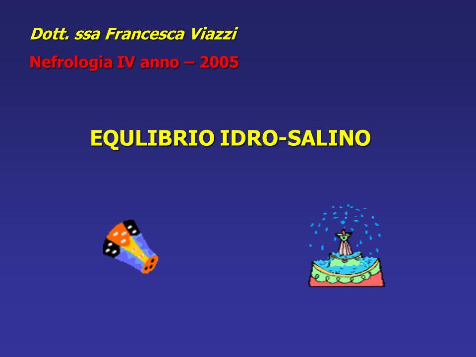 Dott. ssa Francesca Viazzi Nefrologia IV anno – 2005 EQULIBRIO IDRO-SALINO