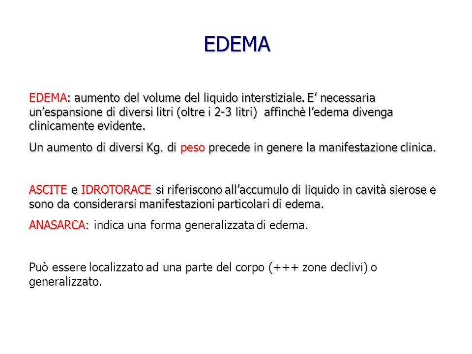 EDEMA: aumento del volume del liquido interstiziale. E necessaria unespansione di diversi litri (oltre i 2-3 litri) affinchè ledema divenga clinicamen