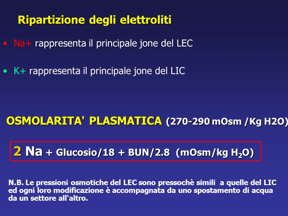 Na+ rappresenta il principale jone del LEC K+ rappresenta il principale jone del LIC Ripartizione degli elettroliti OSMOLARITA' PLASMATICA (270-290 mO