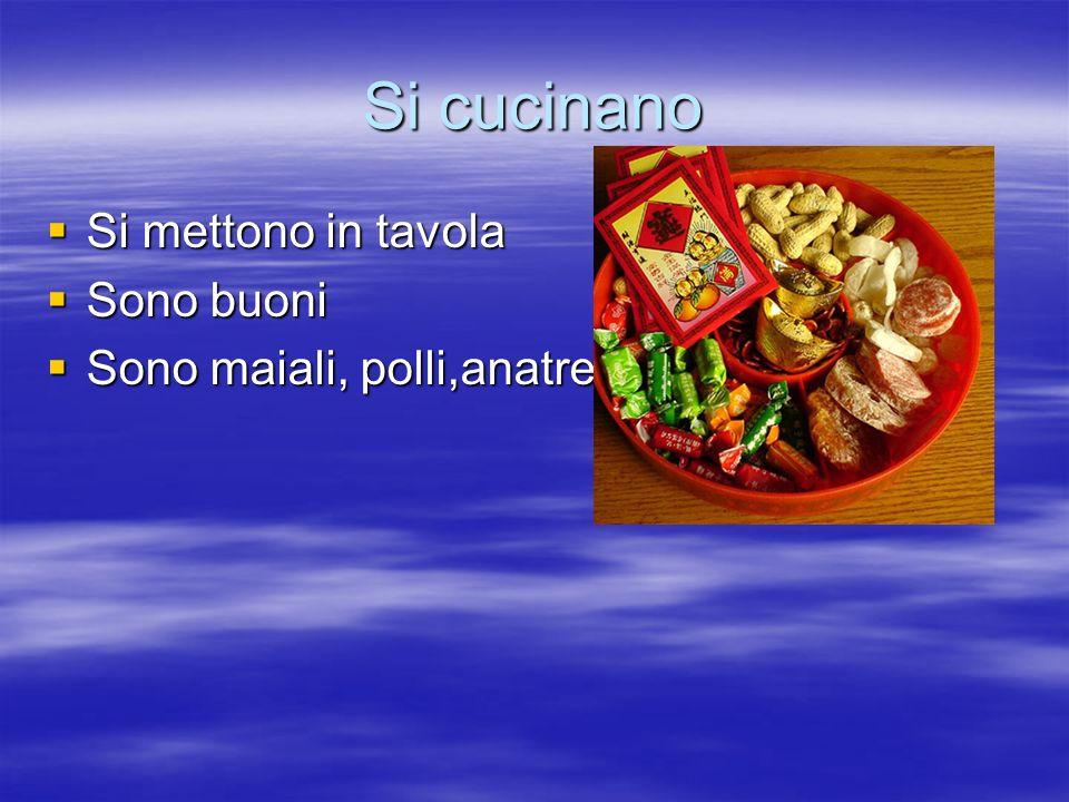 Si cucinano Si mettono in tavola Si mettono in tavola Sono buoni Sono buoni Sono maiali, polli,anatre…..