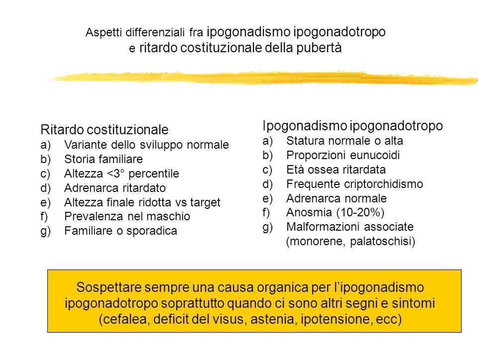 Aspetti differenziali fra ipogonadismo ipogonadotropo e ritardo costituzionale della pubertà Ritardo costituzionale a)Variante dello sviluppo normale