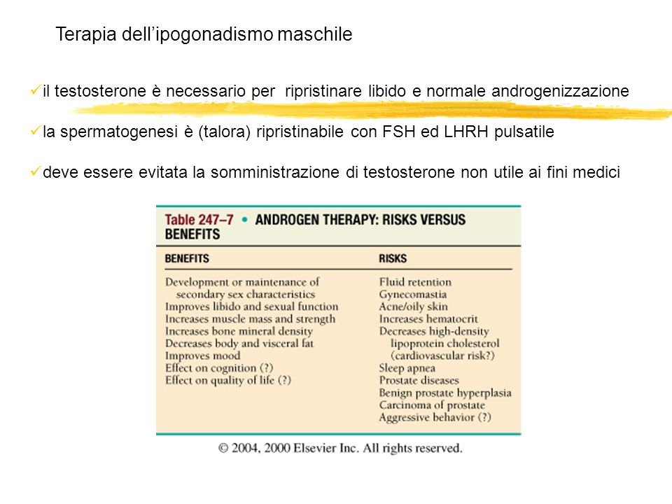 il testosterone è necessario per ripristinare libido e normale androgenizzazione la spermatogenesi è (talora) ripristinabile con FSH ed LHRH pulsatile
