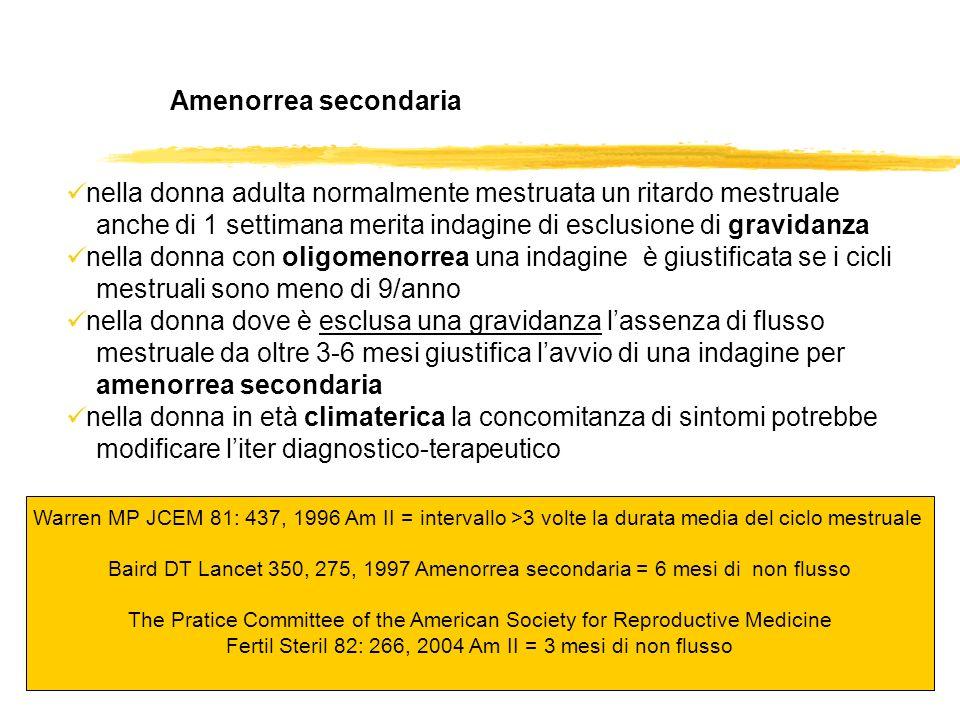 Amenorrea secondaria nella donna adulta normalmente mestruata un ritardo mestruale anche di 1 settimana merita indagine di esclusione di gravidanza ne