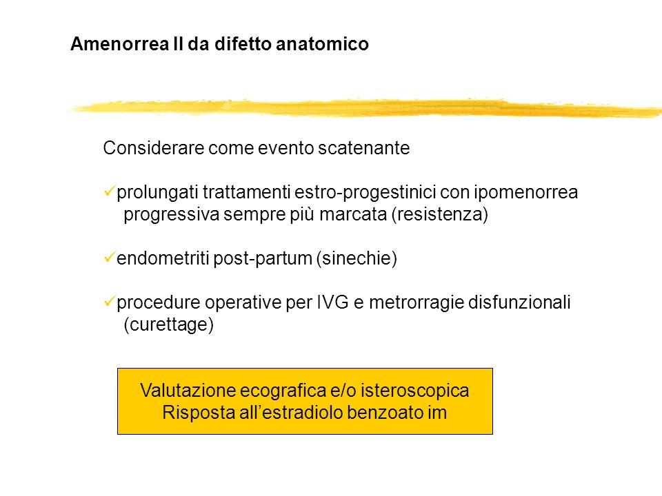 Amenorrea II da difetto anatomico Considerare come evento scatenante prolungati trattamenti estro-progestinici con ipomenorrea progressiva sempre più