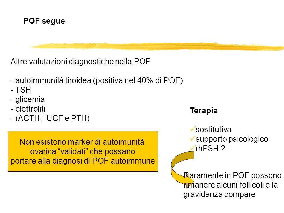 Altre valutazioni diagnostiche nella POF - autoimmunità tiroidea (positiva nel 40% di POF) - TSH - glicemia - elettroliti - (ACTH, UCF e PTH) POF segu