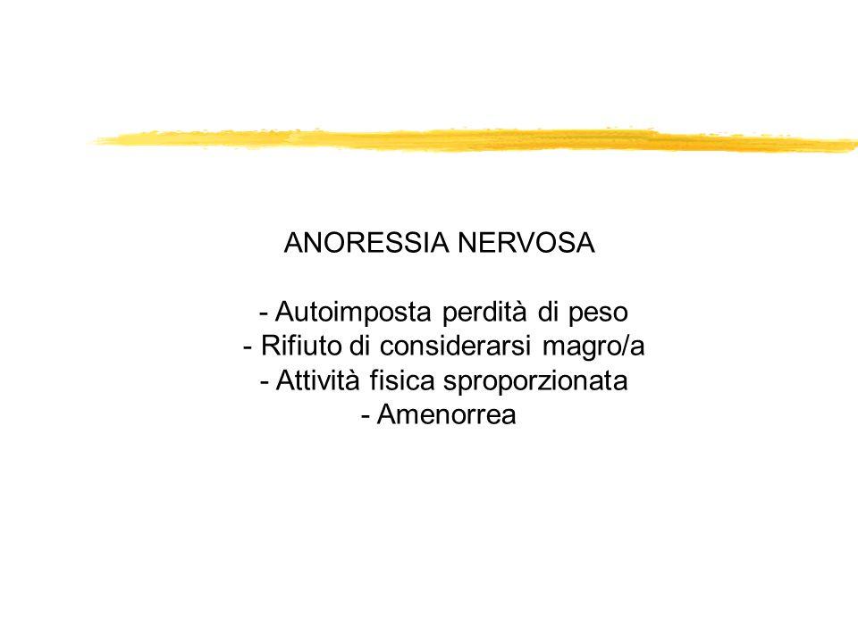 ANORESSIA NERVOSA - Autoimposta perdità di peso - Rifiuto di considerarsi magro/a - Attività fisica sproporzionata - Amenorrea