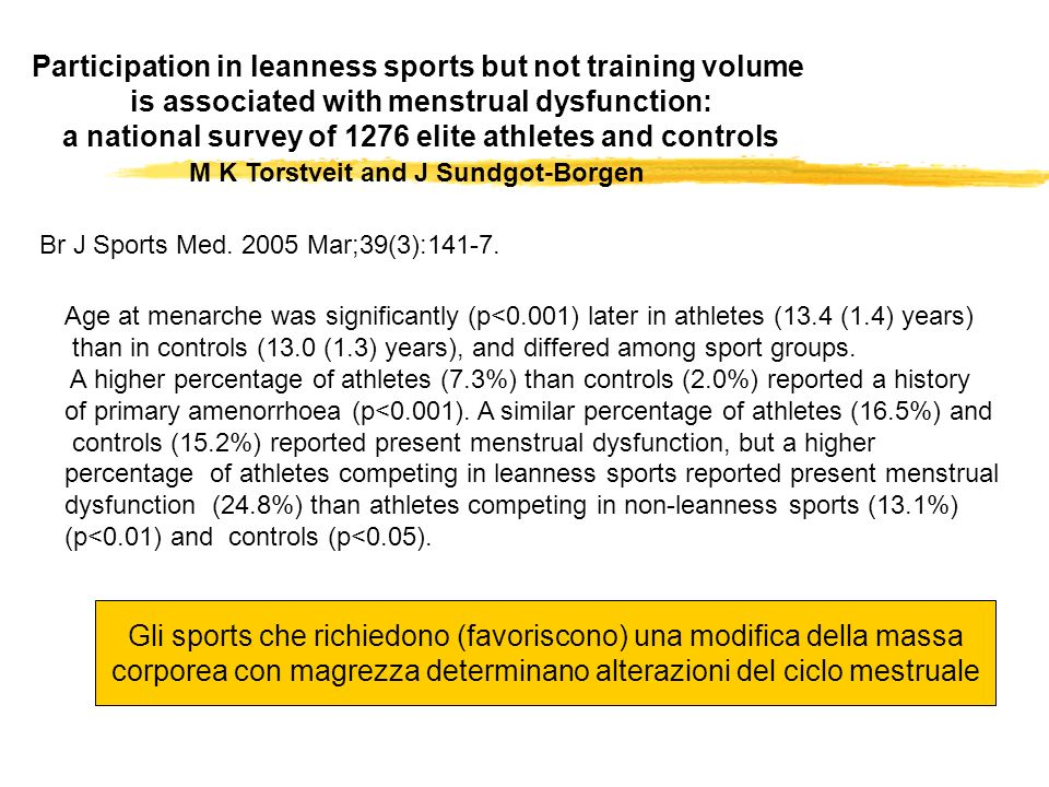 Participation in leanness sports but not training volume is associated with menstrual dysfunction: a national survey of 1276 elite athletes and contro