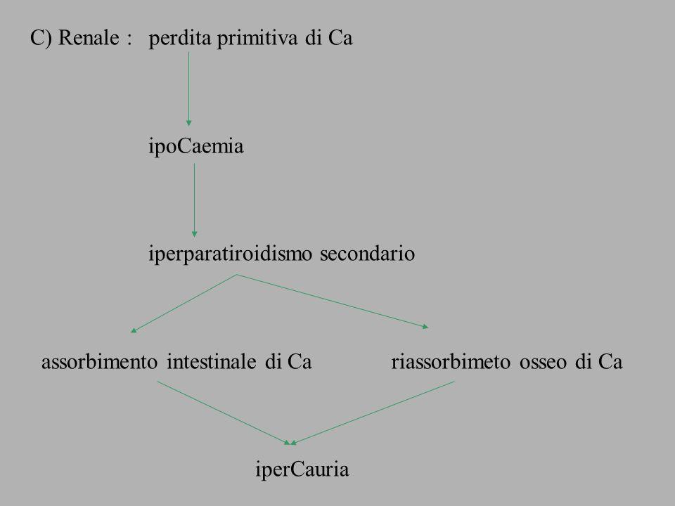 C) Renale : perdita primitiva di Ca ipoCaemia iperparatiroidismo secondario assorbimento intestinale di Ca riassorbimeto osseo di Ca iperCauria