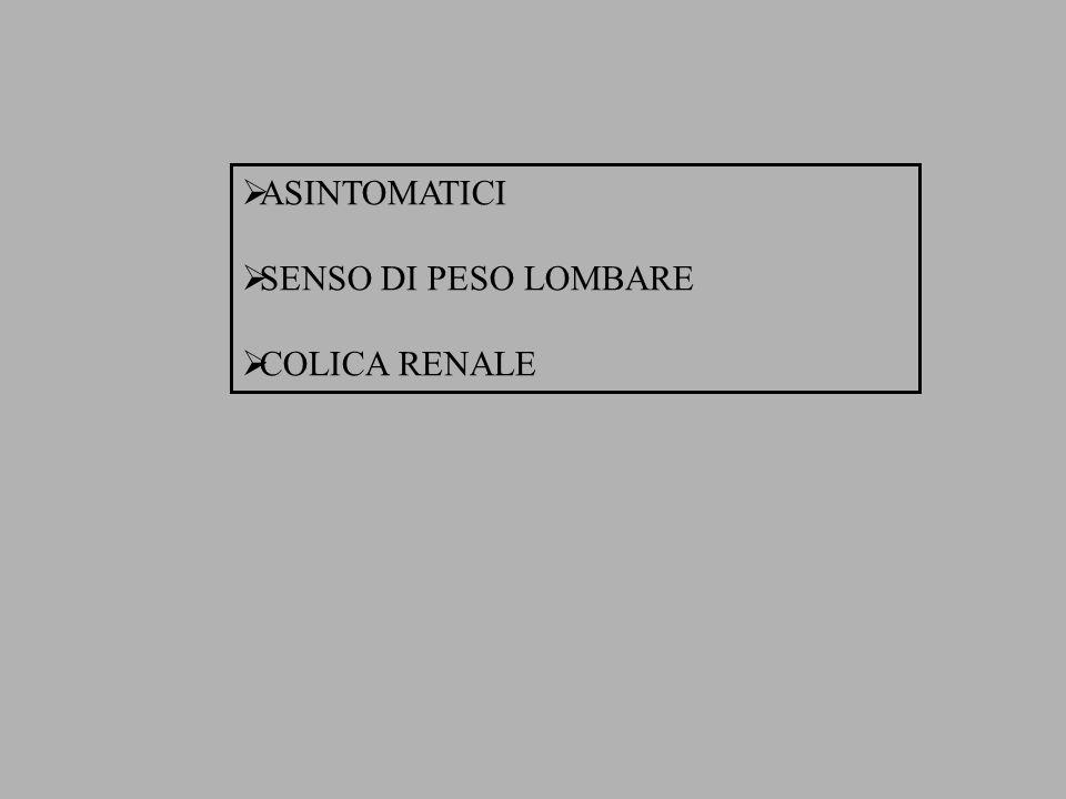 ASINTOMATICI SENSO DI PESO LOMBARE COLICA RENALE